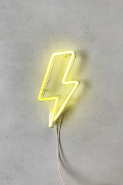 luminária neon raio amarelo