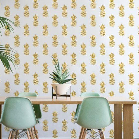 papel de parede de abacaxi amarelo e branco