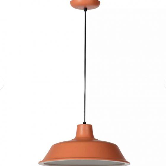 luminária ceramo- lustre laranja