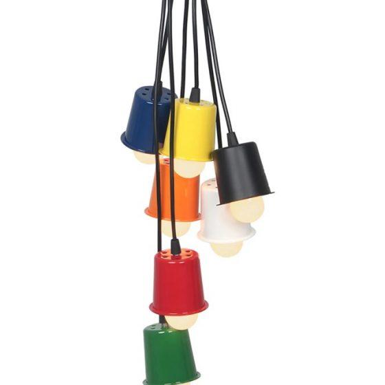 luminária copinho colorida- lustre fun