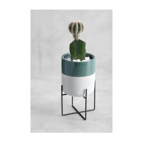 vaso com base em metal de cerâmica neo-mint