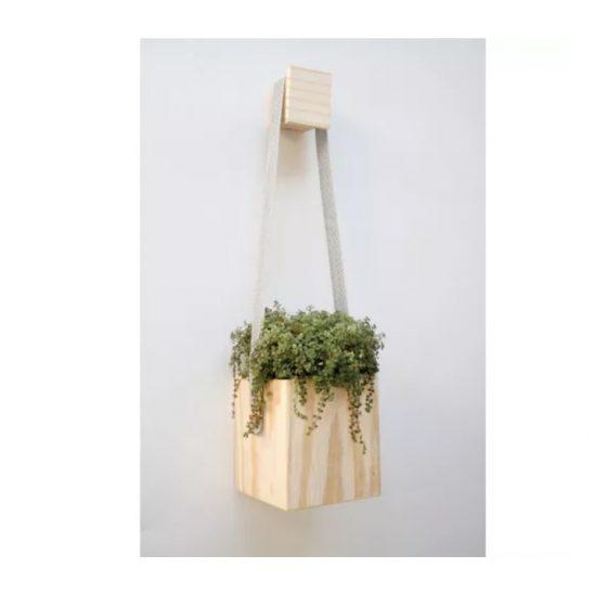 vaso pendente cubo de madeira para samambaias