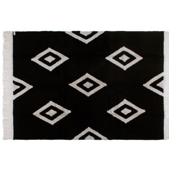 decoração cozinha preta com tapete cateto