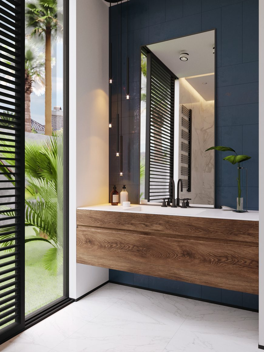banheiro minimalista com parede azul petróleo