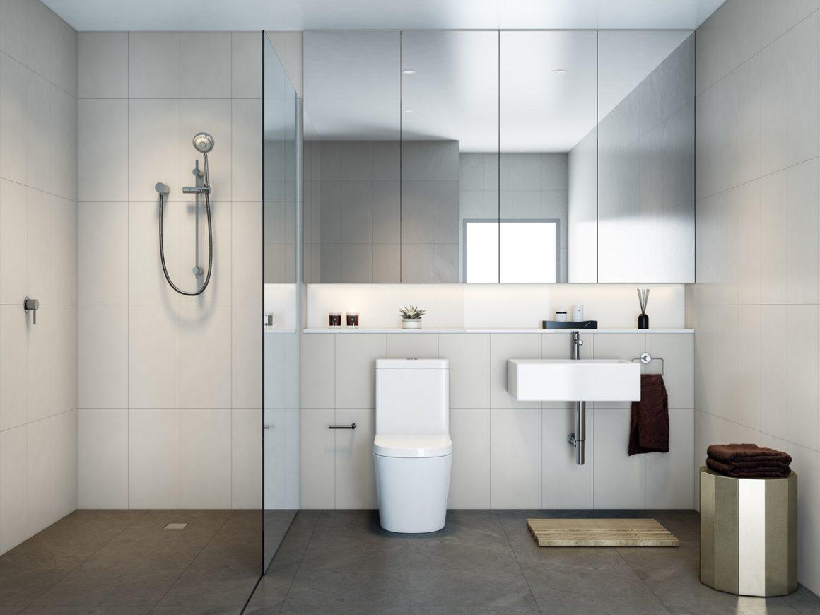 banheiro com azulejos brancos e espelho grande