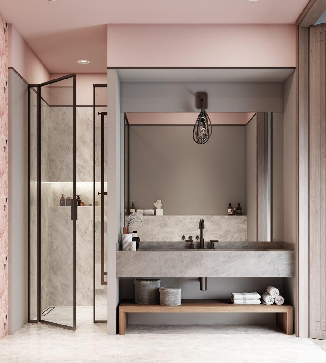 banheiro minimalista millennial pink