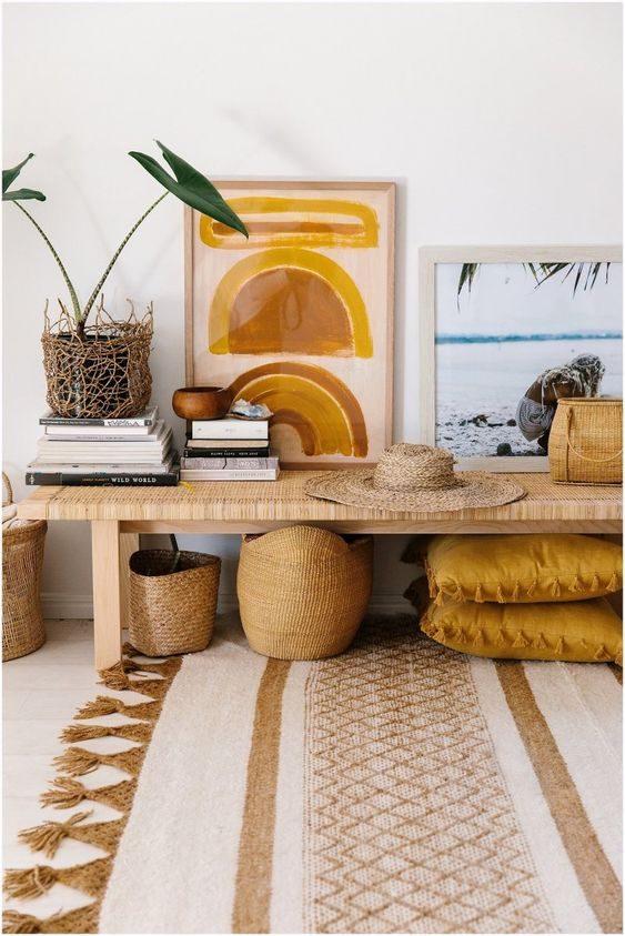 estar handmade com cestos e madeira