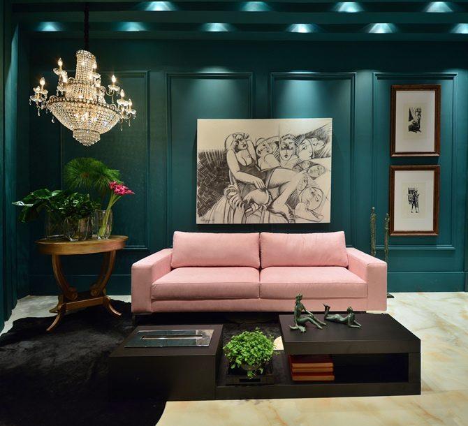 sofá clássico rosa