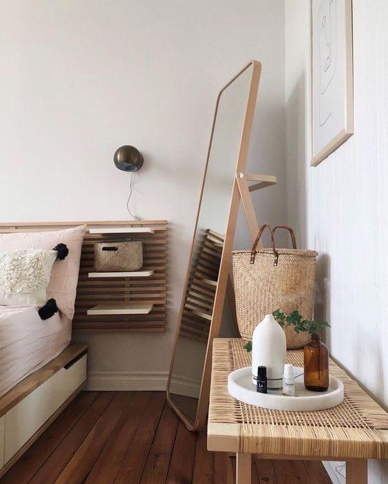 quarto com cesto e bando handmade