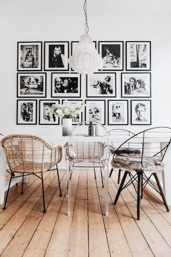 sala de jantar com decoração com objetos pretos