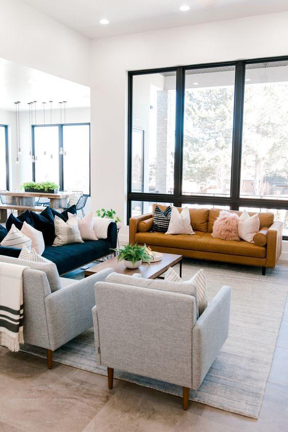 apartamento com esquadrias pintadas de preto