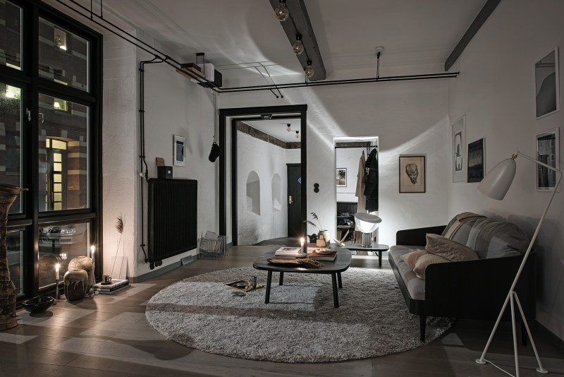 sala de estar estilo industrial black and white