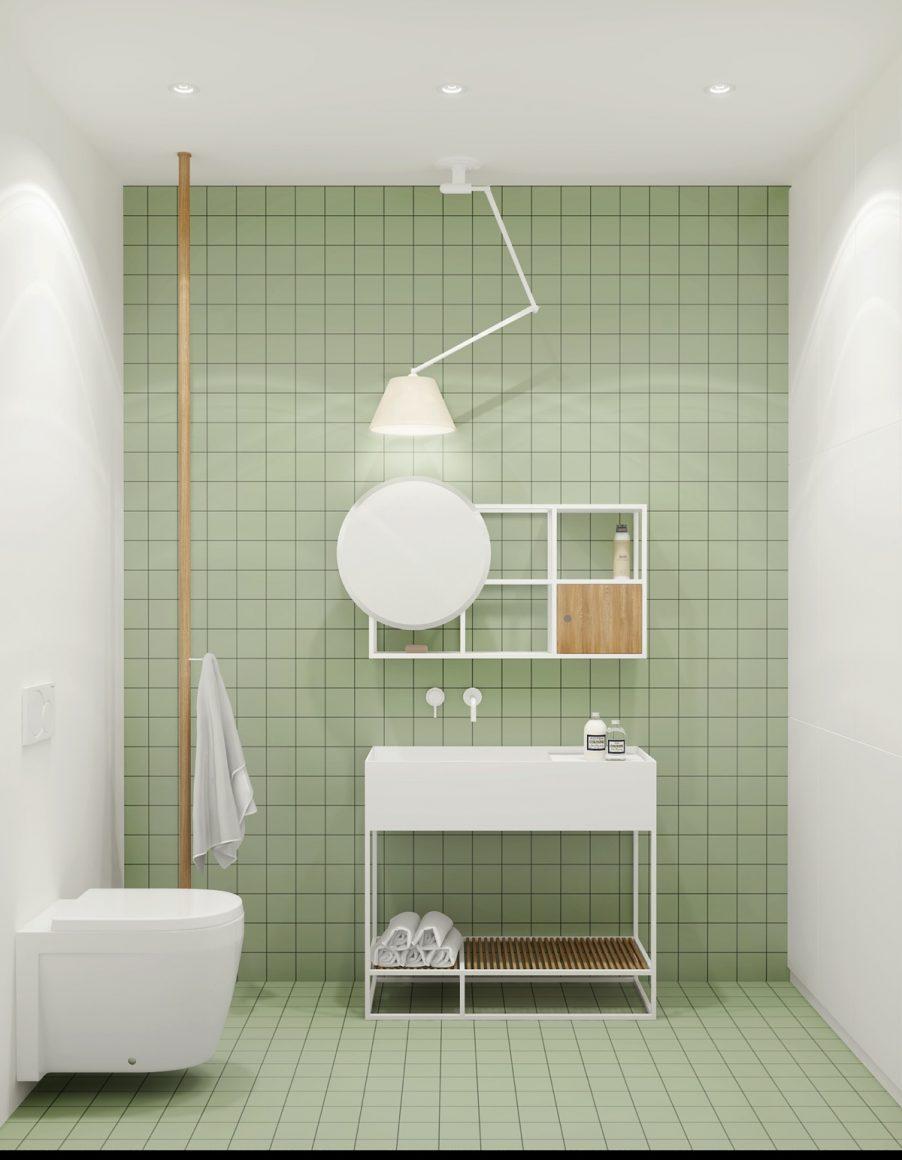 banheiro minimalista com azulejo retro verde menta