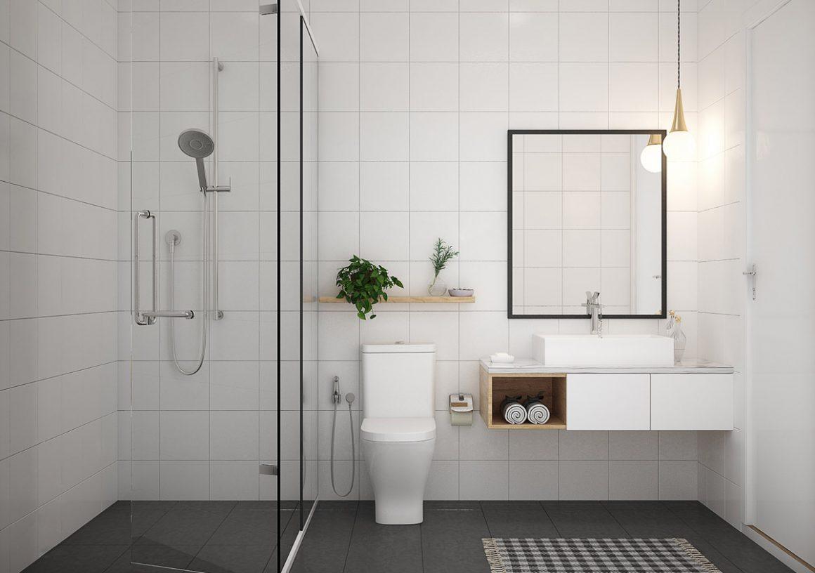 banheiro minimalista com azulejos brancos