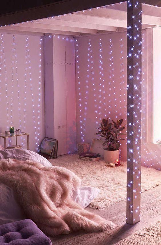 iluminação romantica com cordão de luz