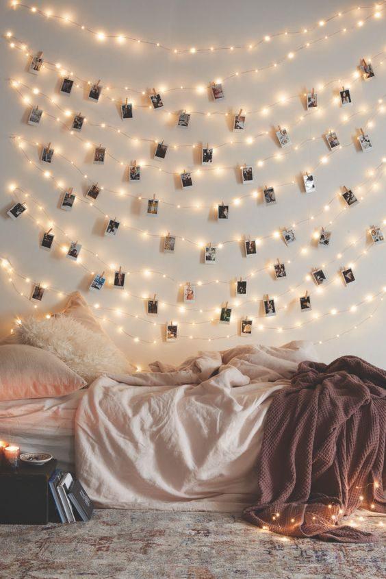 painel de cordão de luz com fotos
