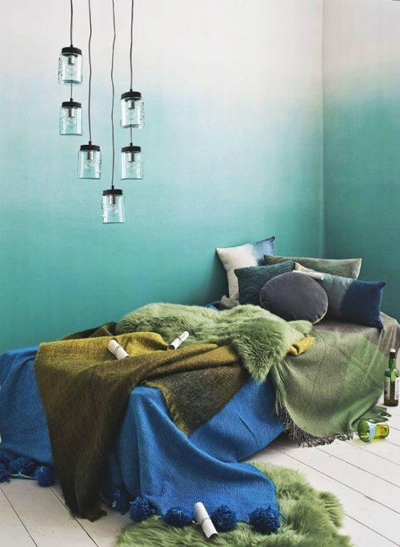degradê verde na parede do quarto masculino