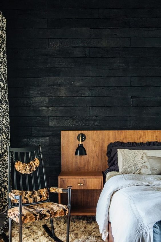 dormitório preto rústico