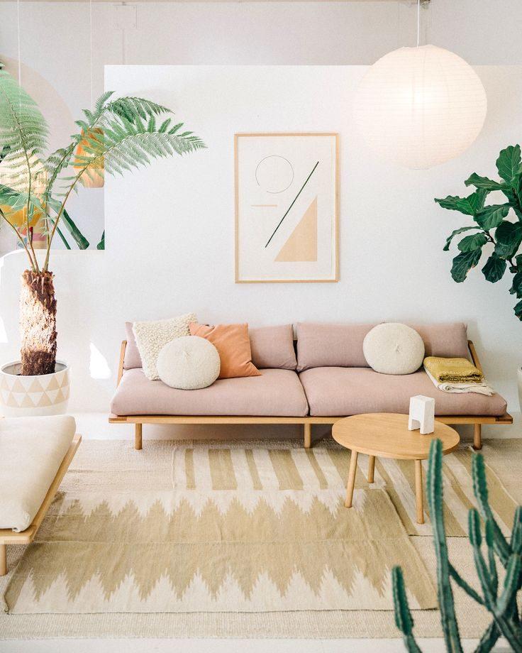 sofá rústico rosa claro