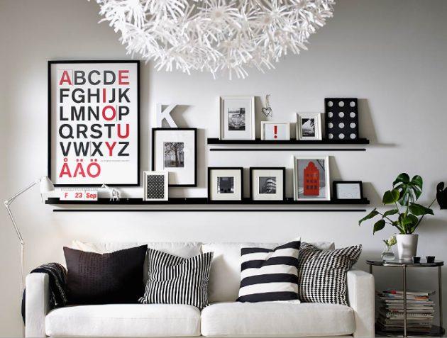 composição de posteres em prateleiras