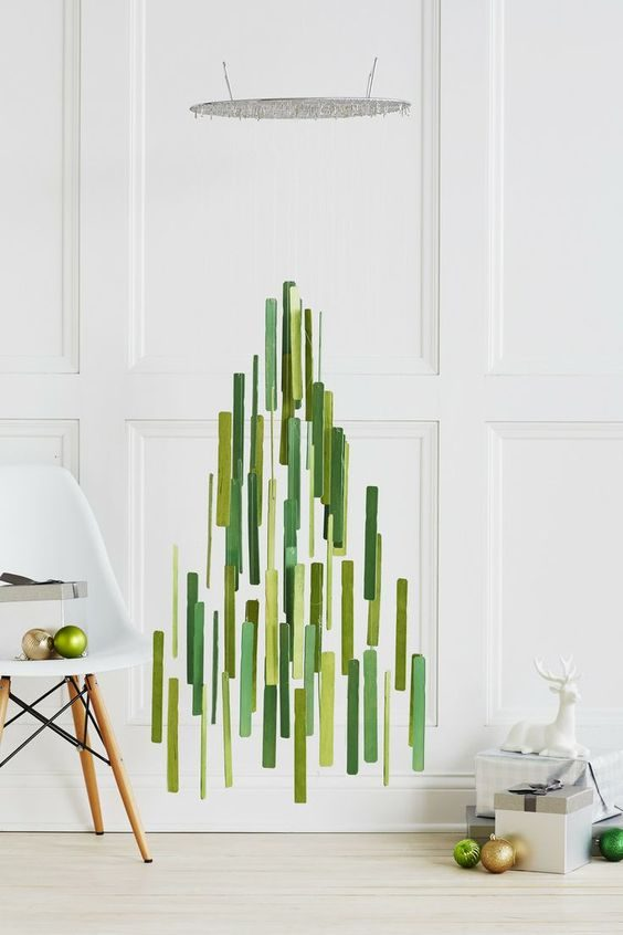 árvore de natal suspensa verde