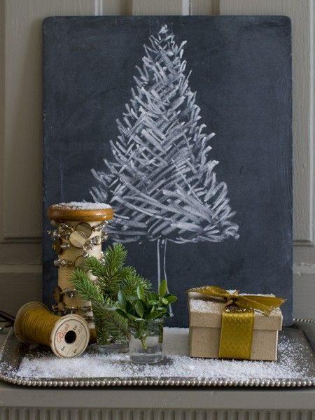 árvore de natal desenha com giz de cera