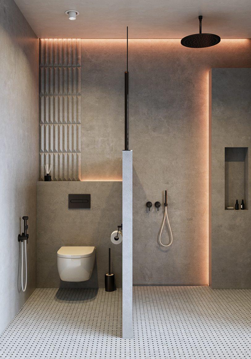 banheiro minimalista todo em concreto