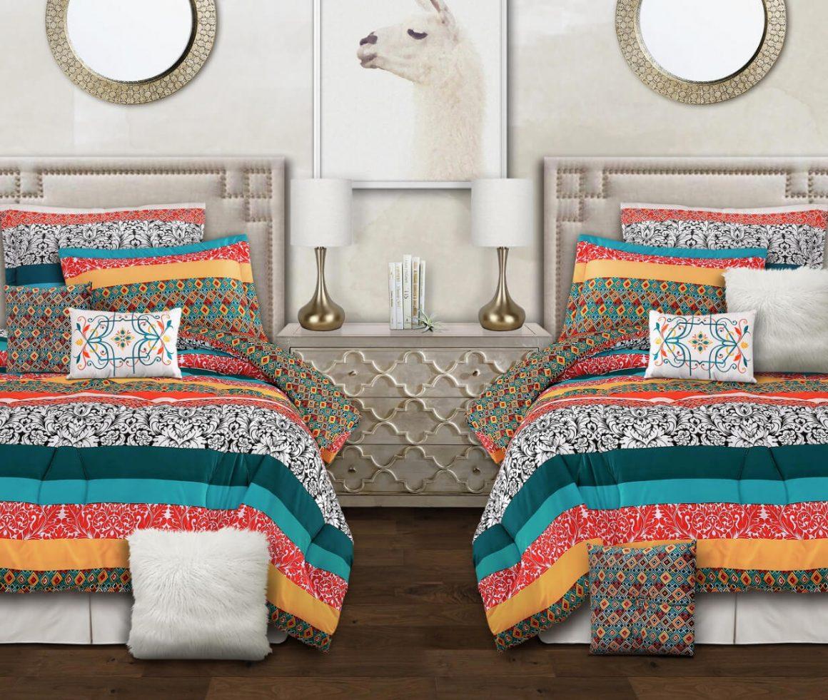 cama com estampas bem coloridas