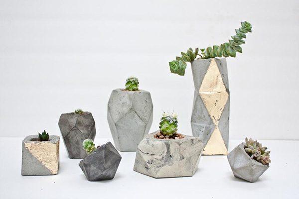 vasos de cimento geometricos