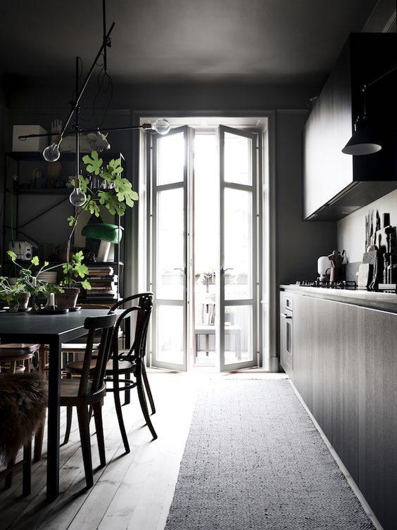cozinha preta com mood boho
