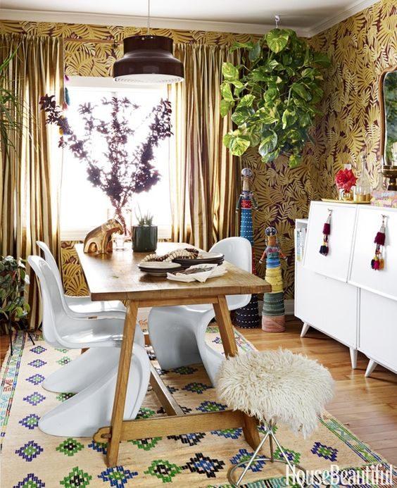 sala de jantar imponente em jungalow style