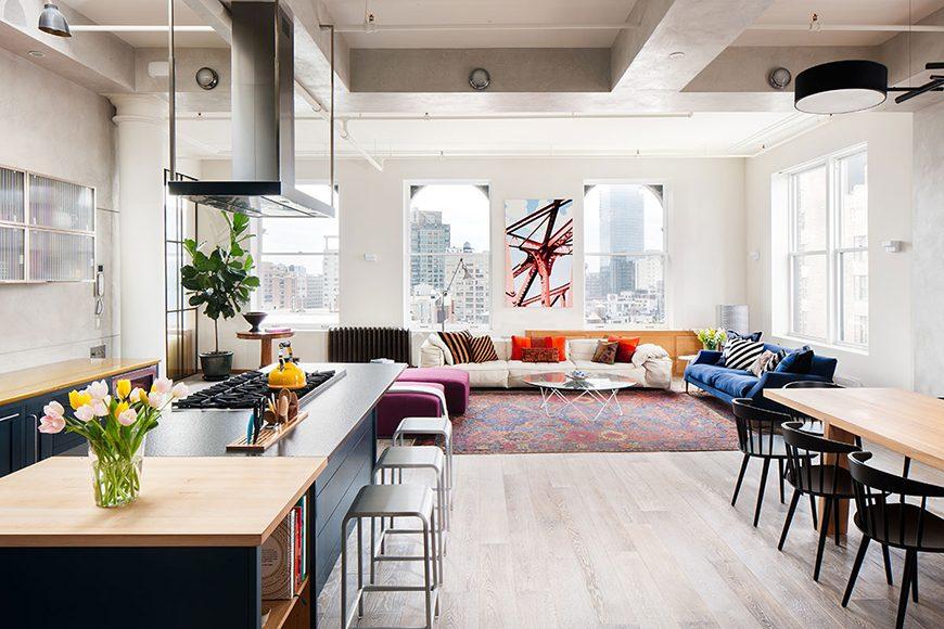loft com espaço integrado - cozinha com ilha