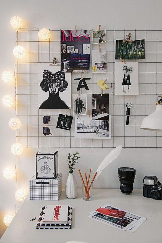 office iluminado por cordão de luz
