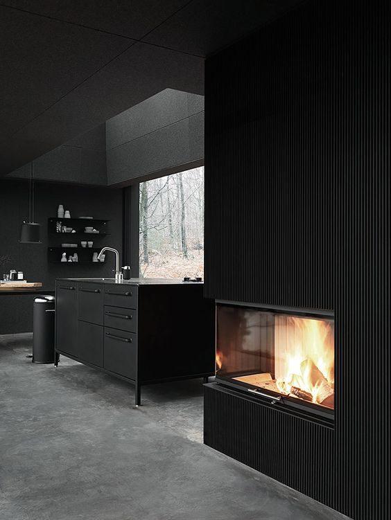 cozinha preta, all black, minimalista