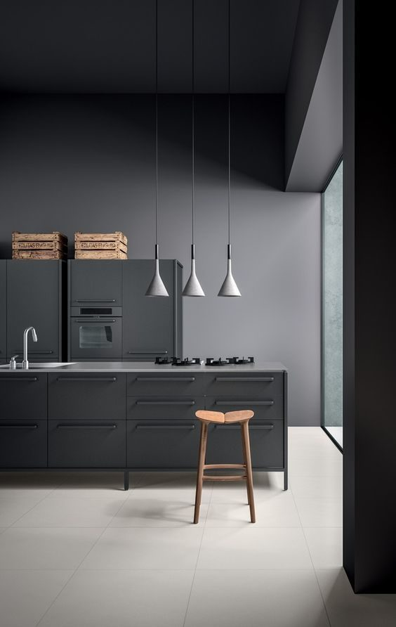 cozinha minimalista totalmente preta
