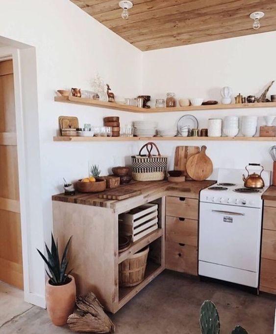 open shelving em cozinha rústica