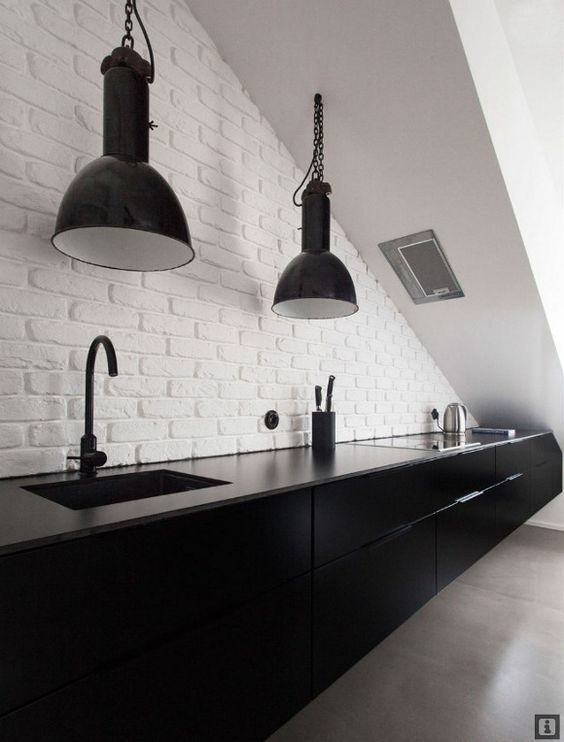 armários preto com parede branca na cozinha