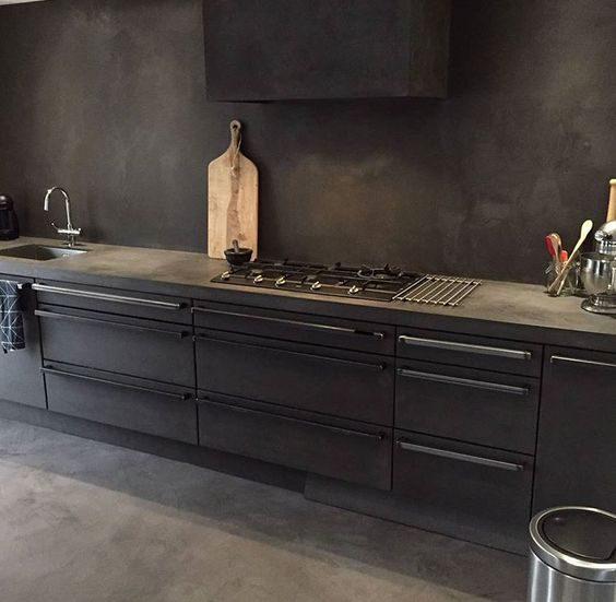 cozinha preta com vibe industrial