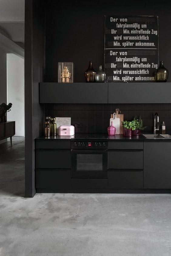 cozinha preta ,contemporânea