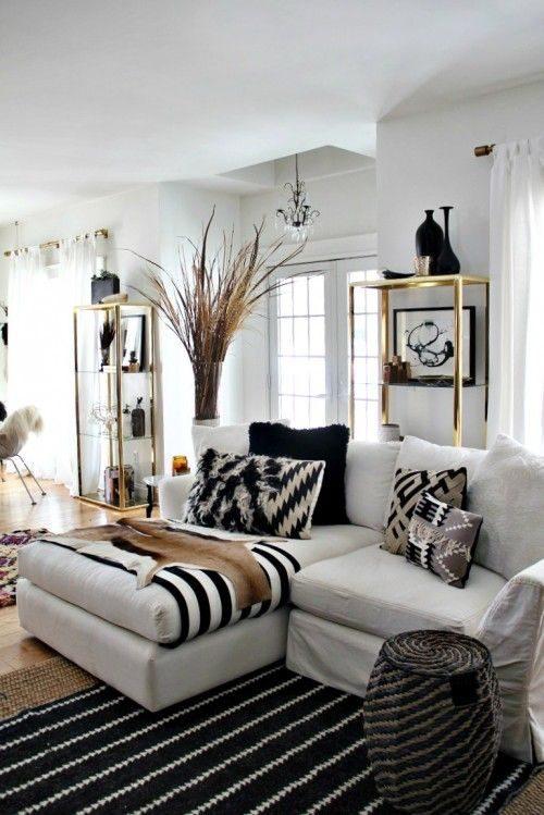 objetos preto e branco em décor de sala de estar
