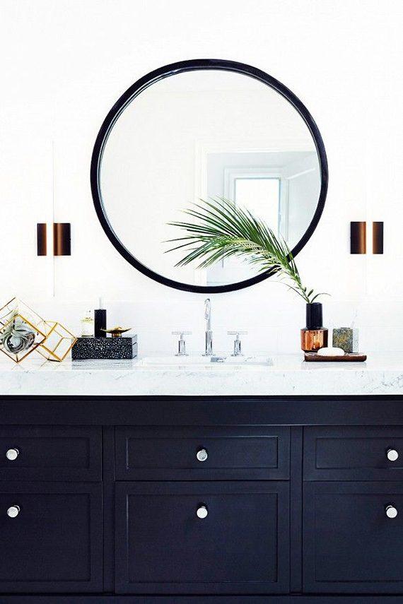 espelho redondo com moldura preta