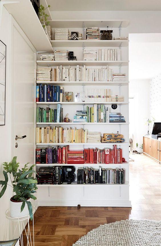 prateleiras com livros arrumados por cor