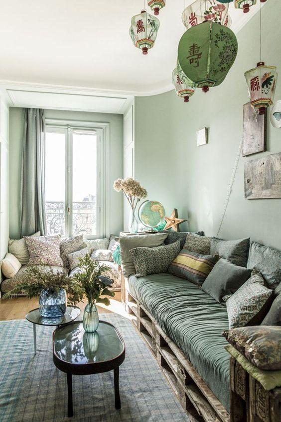 sala de estar com decoração total em neo-mint