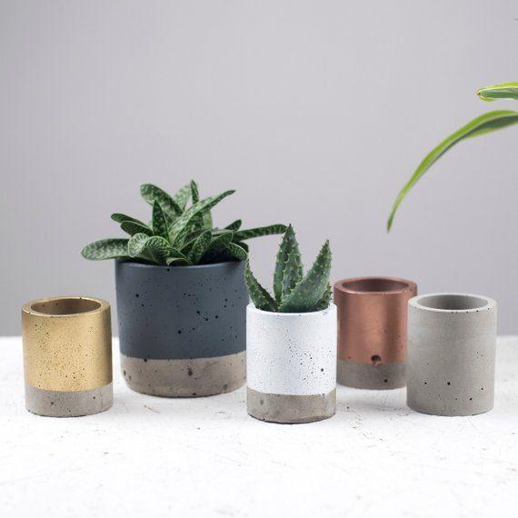 vasos de cimento metalicos