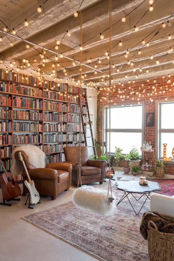 estar com iluminacçao de cordão de luz no teto