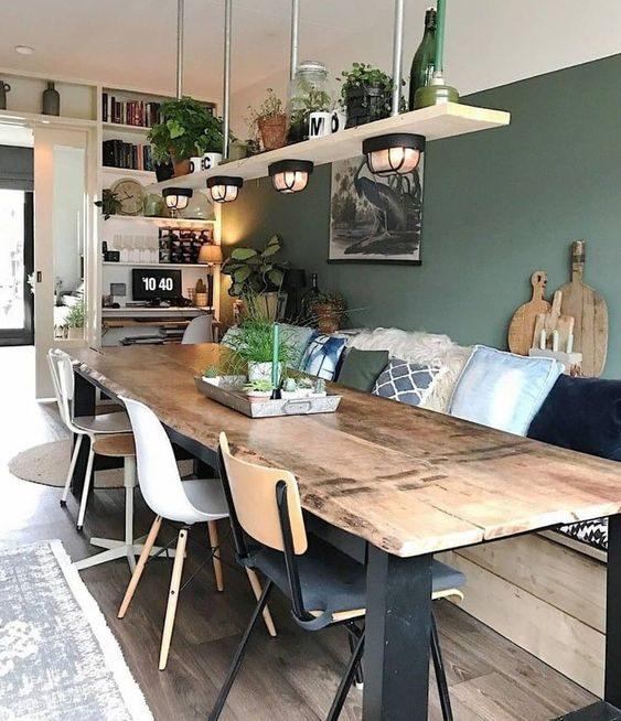 sala de jantar rústica com parede neo-mint