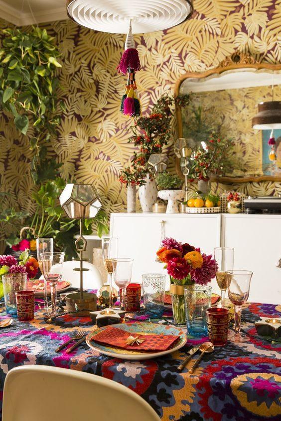 mesa posta colorida em jungalow style