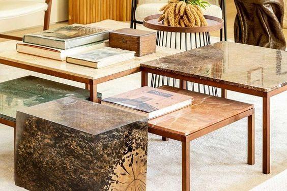 conjuntos de mesas decoradas com livros