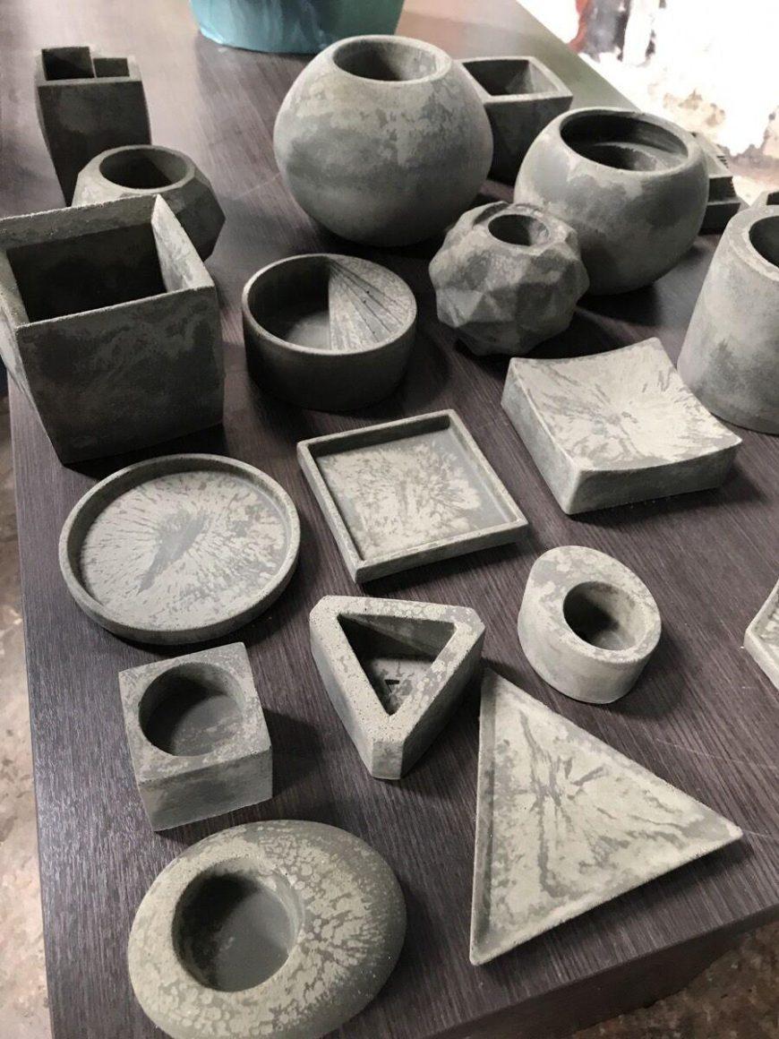 moldes de vasos de cimento