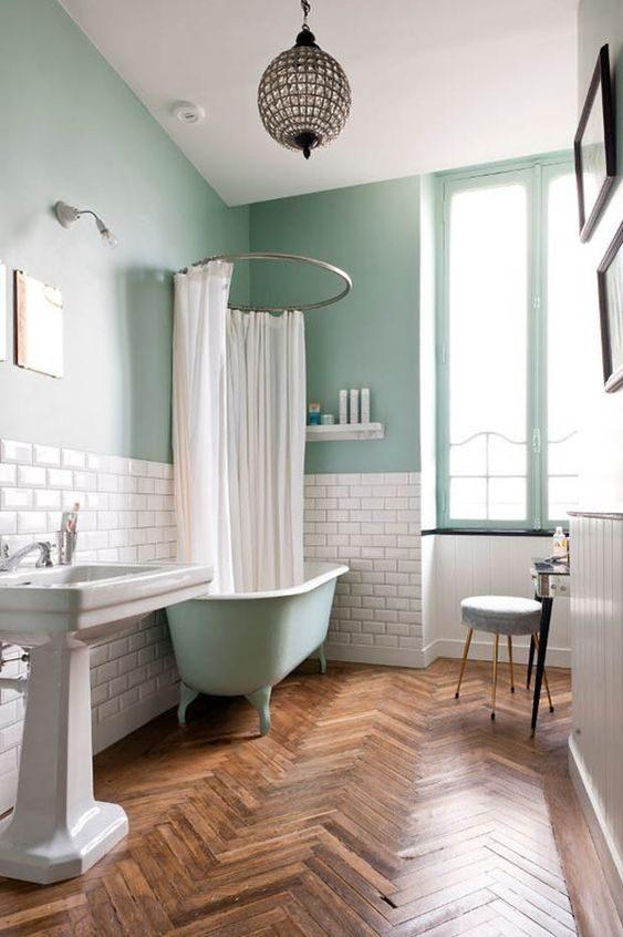 banheiro com parede neo mint